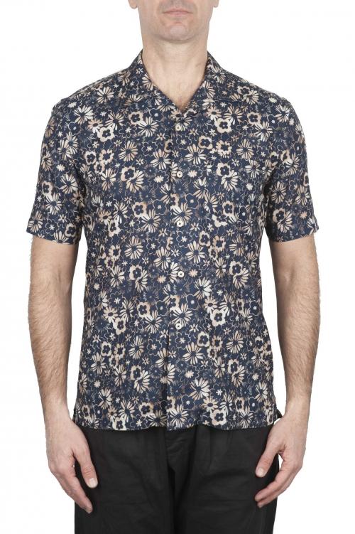 SBU 02833_2020S Hawaiian printed pattern blue cotton shirt 01