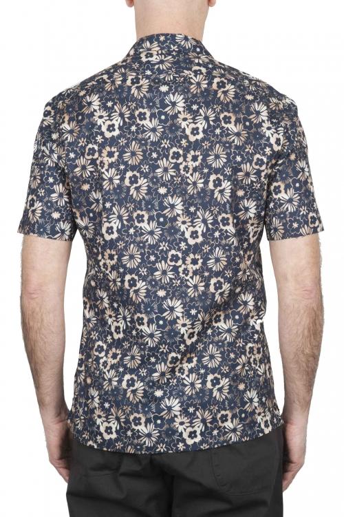SBU 02833_2020S Camisa de algodón azul estampada hawaiana 01