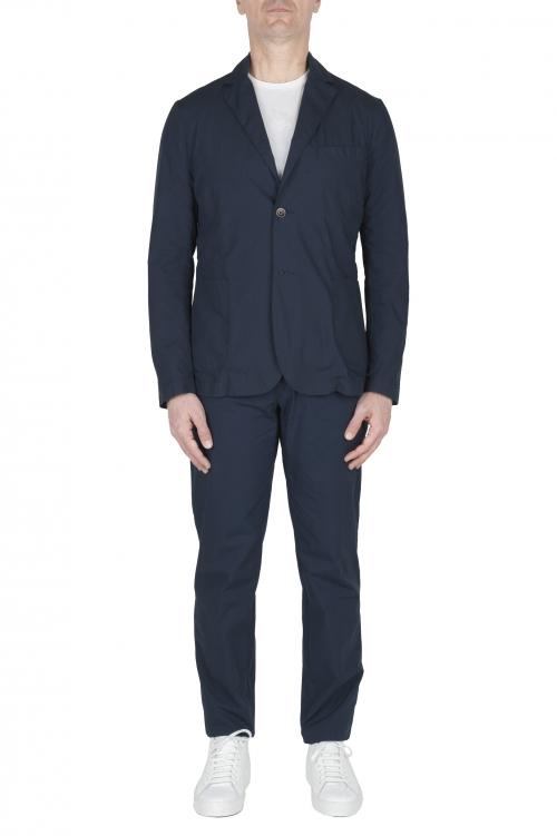 SBU 02837_2020SS Navy blue cotton sport suit blazer and trouser 01