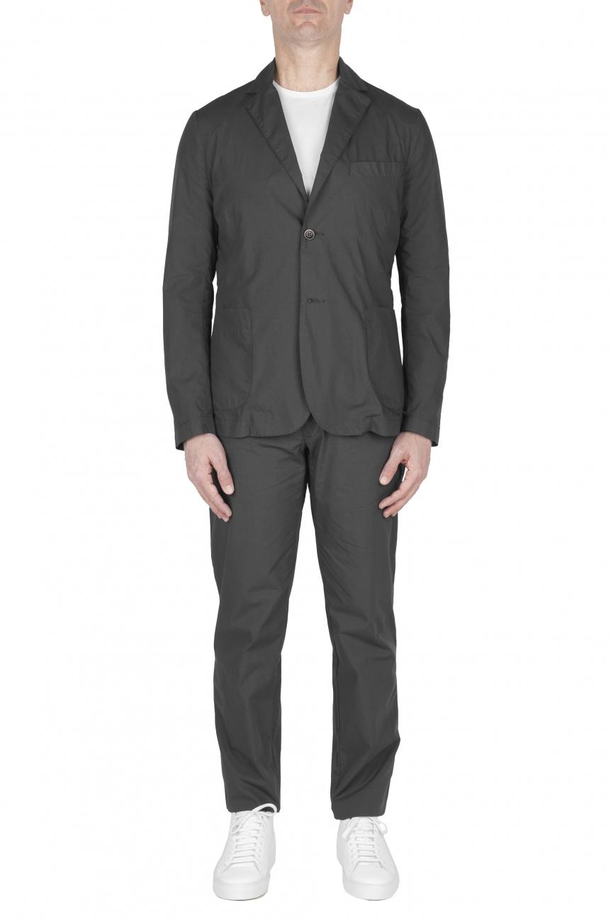 SBU 02839_2020SS Chaqueta y pantalón de traje deportivo de algodón gris oscuro 01