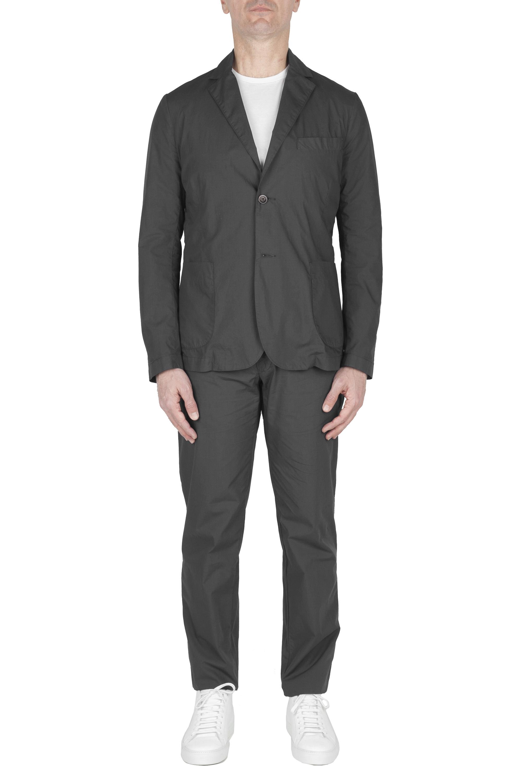 SBU 02839_2020SS Dark grey cotton sport suit blazer and trouser 01