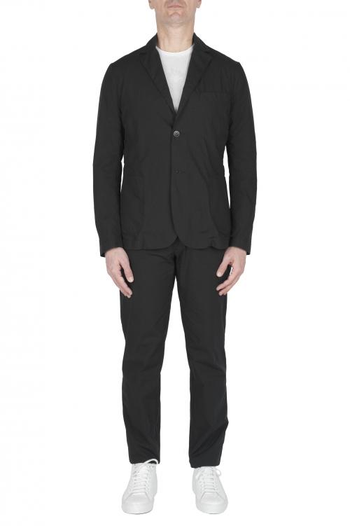 SBU 02842_2020SS Black cotton sport suit blazer and trouser 01