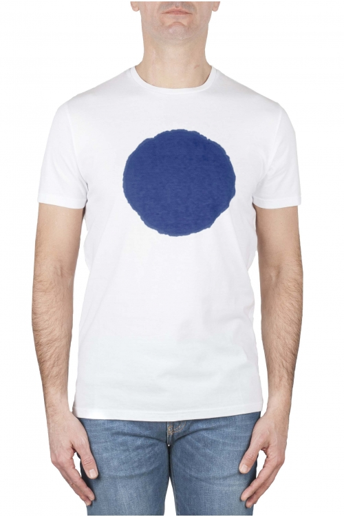 SBU 02844_2020SS 青と白のグラフィックを印刷した古典的な半袖綿ラウンドネックtシャツ 01