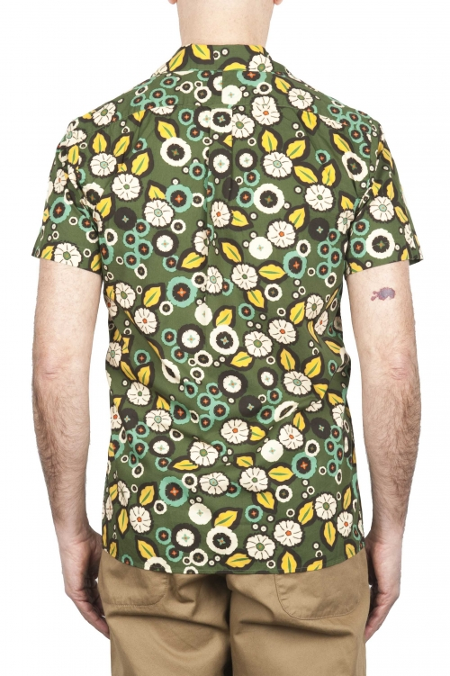 SBU 02854_2020SS Camisa hawaiana estampada de algodón verde 01