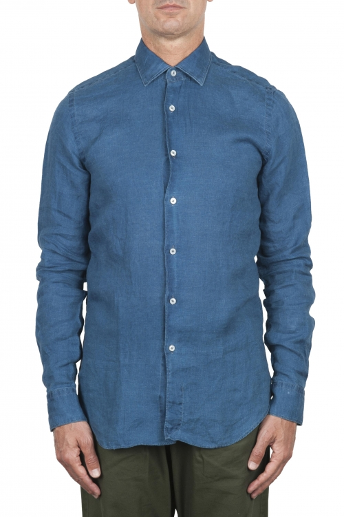 SBU 02855_2020SS Classic indigo linen shirt 01