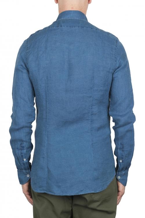 SBU 02855_2020SS Camisa clásica de lino índigo 01